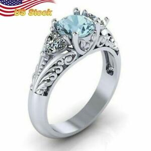 Fashion 925 Silver Plated  Jewelry Wedding for Women Aquamarine Ring  Size 6-10