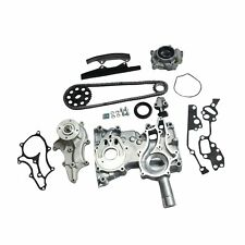 For Toyota 2.4L 22R/RE Timing Chain Kit(Steel Guides)+Cover+Oil&Water Pump 85-95