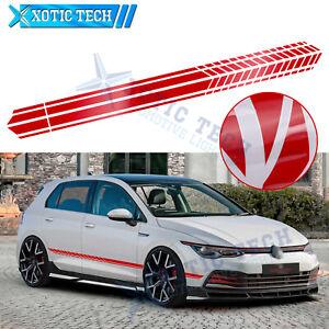 Red Car Side Body Fender Decal Graphics Stripes Sticker For VW Jetta Passat Golf