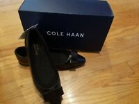 NWT! Cole Haan Zerogrand Bow Skimmer Black Leather Size 6.5