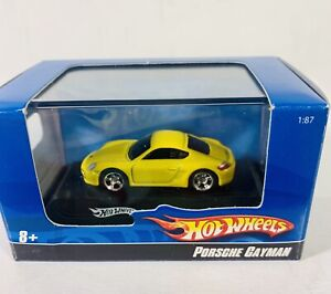Hot Wheels Diecast 1:87 Porsche Cayman Yellow with Display REALLY COOL