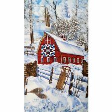 "Winter Snow Scene Fabric Cotton Craft Quilting Large Panel 24""x 44"" Christmas"