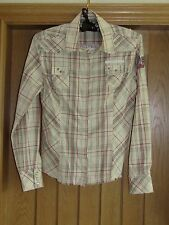 Next cream red check fitted shirt blouse studs embroidered size 10 vgc
