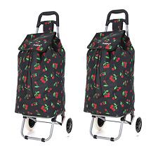 Hoppa Large Capacity Light Weight Wheeled Shopping Trolley Push Cart Bag Wheels Leaf Black