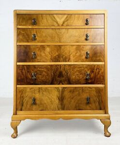 ART DECO WALNUT ANTIQUE CHEST OF DRAWERS