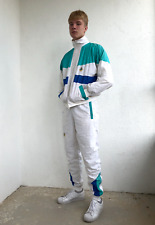 80's-90's Vintage Men's Bally Tracksuit Full Set Jacket Pants White Size M