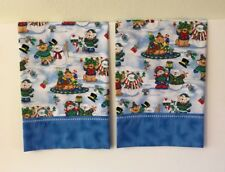 Christmas Cats Bears Pillowcases Set Of 2 Handmade Cotton Queen New