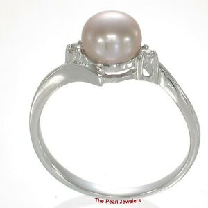 925 Silver Lavender Cultured Pearl Ring w Two Cubic Zirconia Accents 6.5-7mm TPJ
