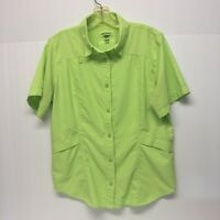 Woman's Reel Legends Vented Button Up Fishing Shirt L Green. Side Pockets