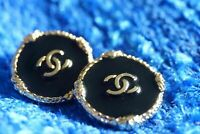 Chanel buttons 2 pieces metal  Logo CC size 20 mm 0,8 inch black & gold  💗💗