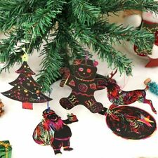 Magic Color Scratch Christmas Ornaments DIY Paper Drawing Decoration 72pcs/lot