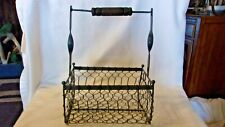 Vintage Gray Metal With Chicken Wire Egg Basket with Wood Handle
