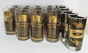 Set of 20 Gold Etched American Sports Glass Cups - Champion Records + Biplanes