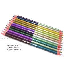 New Metallic & Matt Colour Pencils 2 in 1 Colouring Drawing Paper 12  Pencils