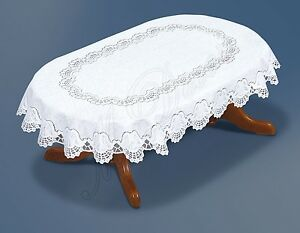 """Fancy oval white lace Tablecloth NEW 130x180 cm (71""""x51"""") perfect gift"""