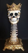 """Katherine's Collection Spine Skull 16"""" Candle Pillar Holder Halloween Gold NEW"""