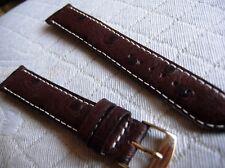 17 mm  BRACELET VEAU VERITABLE FACON AUTRUCHE MARRON COUTURE BLANCHE FAIT MAIN