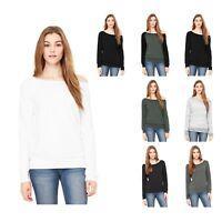 New BELLA+CANVAS Women's Sponge Fleece Relaxed Shirt Ladies Wide-Neck Sweatshirt