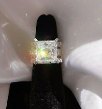 HSN 5 Carat Square Cut CZ Sterling Silver Engagement Ring Size 5 7 ct total wt.