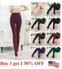 US Women Thermal  Stretch Fleece Lined Thick  Winter Warm Pants tight leggings