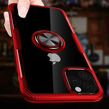 iPhone 11 Case Carbon Fiber Crystal Rotation Ring Kickstand Magnetic Clear Red