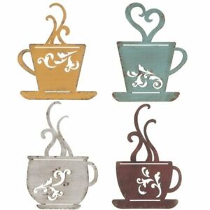 Wall Decor Metal Coffee Cups, Choose 4 or Asst Colors: Aqua, White,Red, Yellow
