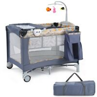 Folding Baby Crib Travel Infant Cot Playpen With Toys Portable Gray Bed Changer