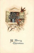 Christmas~Robins on Snowy Branch~Holly Berry Plant in Window~Emboss~MSiB~Germany