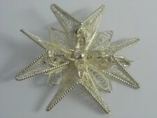 An Exquisite Vintage Maltese Solid Silver Fine Filigree Ladies Cross Brooch