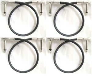 "4 New Hosa Low Profile Flat Pancake Right Angle 12"" Patch Cables IRG-101 1-Foot"