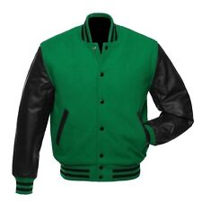 Green Wool Varsity Letterman College Bomber Jacket Black Real Leather Sleeves
