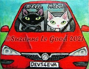 Devon Rex Cat art car painting on canvas original hand painted Suzanne Le Good
