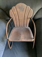 Vintage Pressed Steel Metal Children's Size Outdoor Patio Lawn Chair Furniture