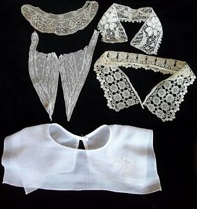 Antique  lot of 5 collars Embroidery hand lace and machine made