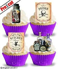 PRE-CUT WITCHCRAFT ACCS. II. EDIBLE WAFER CUP CAKE TOPPERS HALLOWEEN DECORATIONS