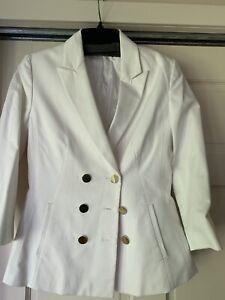 Tahari Womens White  Double Breasted Blazer Size 8.