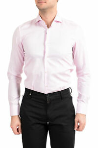 "Hugo Boss Men's ""Jason"" Pink Plaid Slim Fit Long Sleeve Dress Shirt sz 14.5 17.5"