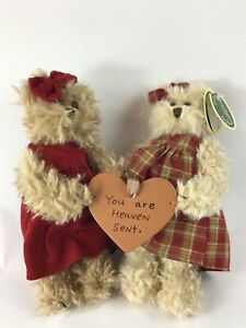 Bearington Collection Red Solid & Checkered Connected Teddy Bears with heart