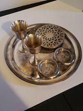 Lot Of Vintage Castleton Platter. Other Silver Plate Items.Coasters Hotplate