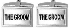 New Rhodium Plated The Groom Wedding Cufflinks in Presentation Case