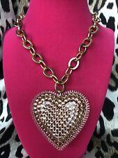 Tarina Tarantino Vintage HUGE Big Love Nude Flesh Lucite Heart Crystal Necklace