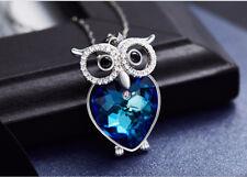 Eule Halskette Owl Collier mit Swarovski® Kristallen Herz Silber 18K Weißgold