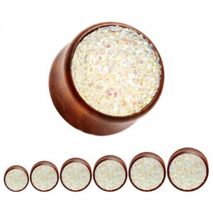 WHITE GLITTER Wooden Ear Plugs Piercing Jewellery Stretcher Tunnels Timber PL120