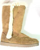 Women's Winter Warm Mid Calf Boots Tan Suede & Faux Fur Lined Side Zip Size 10