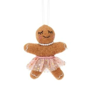 SASS AND BELLE CHRISTMAS TREE GINGERBREAD GIRL IN TUTU HANGING DECORATION GIFT