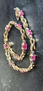 "2ct Natural Ruby Diamond Tennis Bracelet Infinity Design 10ct Gold 7"" Long"