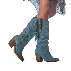 Retro Women's Cowboy Round Toe Low Heel Outdoor Mid Calf Boots Winter 41 42 43 D