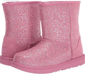UGG Child Classic Ii Glitter Leopard Fashion Boot toddler girl Pink boots 10 NIB