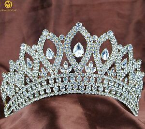 Vintage Gold Wedding Tiara Pageant Crown Clear Crystal Women Headband Prom Party
