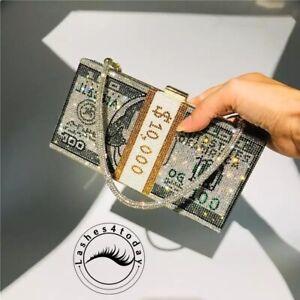 10k Stack Cash Clutch Crystal Bling Rhinestone Money Purse EVening Bag